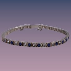 Art Deco Sterling Silver Faux Blue Sapphire and Diamond Tennis Bracelet