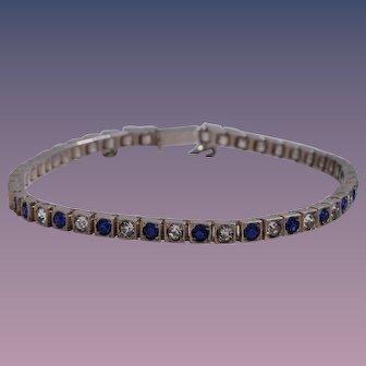 Art Deco Sterling Silver Faux Blue Sapphire and Diamond Tennis Bracelet