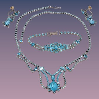 Sterling Silver Turquoise Rhinestone Set by Jay Flex
