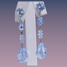Vendome Blue Drop Dangle Crystal Earrings