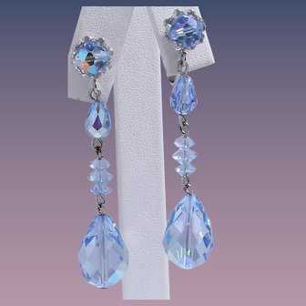 Vendome Blue Drop Dangle Crystal Earrings