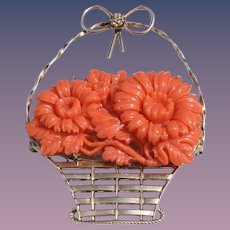 Art Deco Faux Coral Celluloid Brass Flower Basket Brooch
