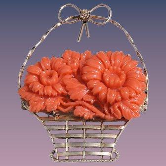 Art Deco Faux Coral Celluloid Brass Flower Basket Brooch