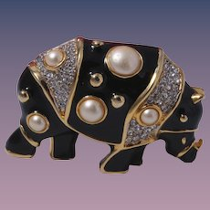 Kenneth Jay Lane Book Piece Rhinoceros Brooch
