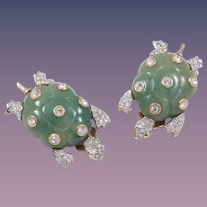 Kenneth Jay Lane Lucite Jade Turtle Earrings Book Piece
