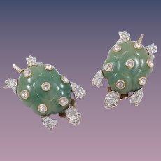 Kenneth Jay Lane Lucite Jade Turtle Earrings Book Piece