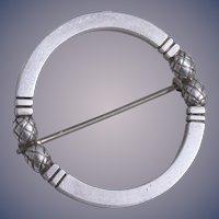 Vintage Georg Jensen Sterling Acorn Circle Brooch Design Number 253