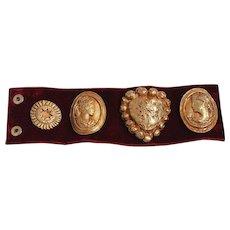 Vintage Exquisite Rare Christian Lacroix Red Velvet Cuff Bracelet