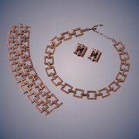 Renoir of California Classic Copper Necklace, Bracelet and Earrings Set