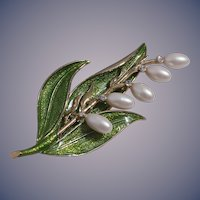 Monet Rare Enameled Lily Brooch/Pin