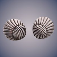 Georg Jensen Sterling Silver Shell Shaped Earrings #107 Designed by Arno Malinowski