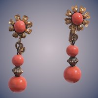 Miriam Haskell Signed 1950s Coral Glass Dangle Earrings