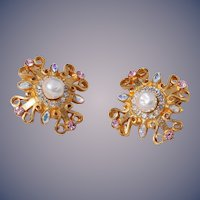 Vintage Christian LaCroix Cluster Faux Pearl Crystal Earrings