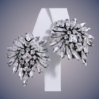 B.E. Cook London Japanned Sparkling  Cluster Clip-Style Earrings