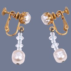 Miriam Haskell Signed 1950s Dangle Baroque Pearl and Crystal Earrings