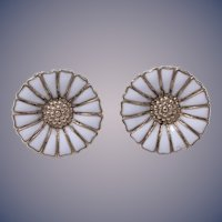 Anton Michelsen's Classic 'Marguerite Daisy' Sterling Silver Enamel Pierced Earrings