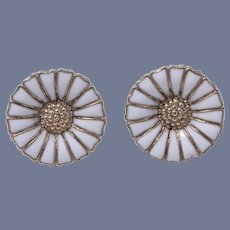 Anton Michelsen's Classic 'Marguerite Daisy' Sterling Silver Enamel Pierced Earrings