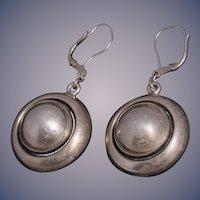 Niels Erik NE From Modernist Sterling Silver Round Domed Dangle Earrings