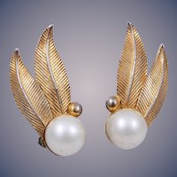 Vintage Huge Schiaparelli Gold-Tone Faux Pearl Leaf Clip Earrings