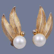 Vintage Huge Schiaparelli Gold-Tone Faux Pearl Leaf Clip Earrings