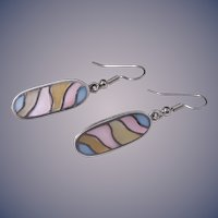 Mother-of-Pearl Inlay Oval Drop Earrings in Sterling Silver