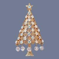 Mylu Dangling Crystals Christmas Tree Pin, Book Piece