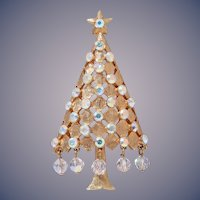 Mylu Dangling Crystals Christmas Tree Pin, Book Piece