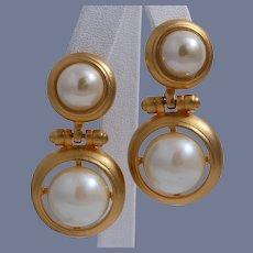 Vintage High-End Faux Pearl Door Knocker Earrings