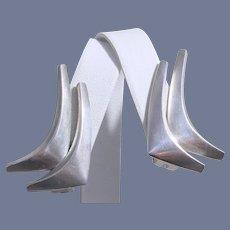 "Mid-Century Modernist Anton Michelsen Sterling Silver ""Boomerang""  Earrings"