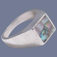 Arne Johansen Denmark  Sterling Silver Abalone Mid-Century Modernist Ring Size 7