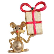 Book Piece Rare Mylu Mouse Christmas  Pin