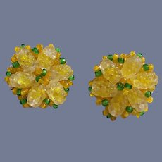 Vintage Vendome Hand-Strung  Yellow Cluster Earrings