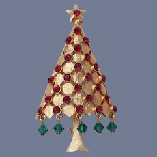 Mylu Dangling Green Crystals Christmas Tree Pin, Book Piece