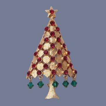 Mylu Dangling Green Crystals Christmas Tree Pin, Book Piece