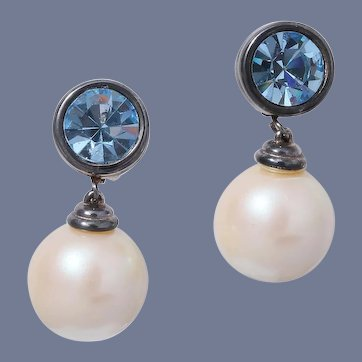 Givenchy Paris New York Class Dangle Faux Pearl Earrings