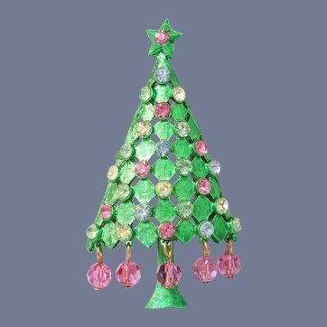 Mylu Green Christmas Tree Pin with Dangling Pink Crystals, Book Piece