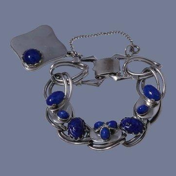 Kafin New York  Faux Blue Lapis Lazuli Cabachon Link Bracelet