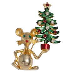 Rare Mylu Mouse Carrying Christmas Tree Pin