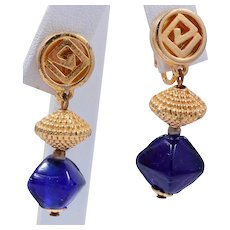Vintage Diane Von Furstenberg Dangling Bead Earrings