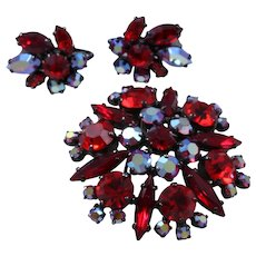 Rare Sherman Siam Red Rhinestone Japanned Brooch and Earrings Set