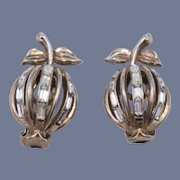 "Rare 1950s Alfred Philippe Trifari ""Forbidden Fruit"" Earrings"