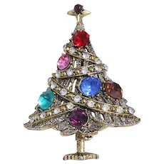 Rare Hollycraft Christmas Tree Pin, Bookpiece