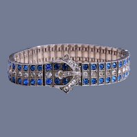Art Deco Diamonbar Sterling Blue and Clear Rhinestone Buckle Bracelet