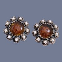 1950s Elsa Schiaparelli Rare Citrine Glass Faux Pearl Earrings