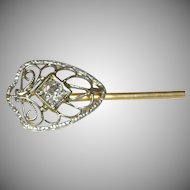 14K White & Yellow Gold Filigree Stick Pin with European Cut Diamond