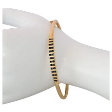 10K Gold Plated Sterling Silver Blue Rhinestone Bangle Bracelet - Red Tag Sale Item