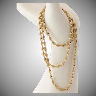 """Sterling Silver & Gold 24"""" Twisted Herringbone Necklace"""