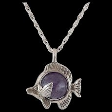 Sterling Silver Purple Bead Blowfish Pendant with Chain - Red Tag Sale Item