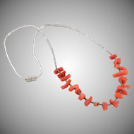 "17"" Sterling Silver Branch Coral Necklace"