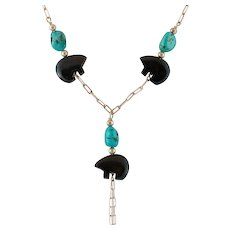 Striking! Sterling Silver Black Onyx and Turquoise Necklace 21-1/4 Inches